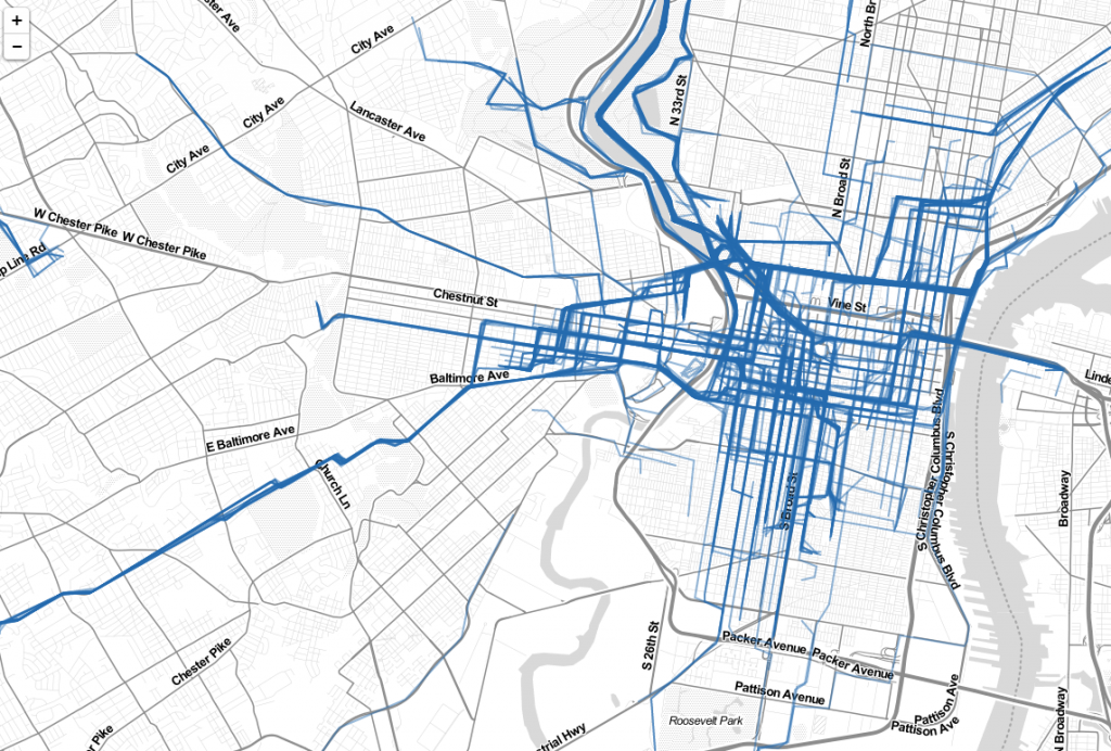 The Cycle Philly commute map this morning