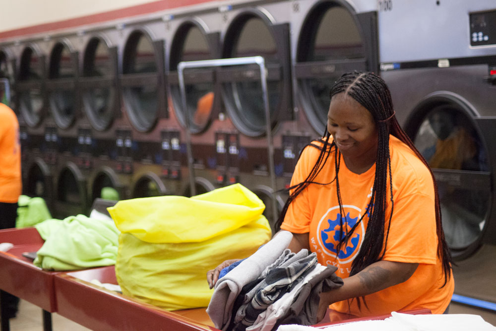 The company makes use of local existing laundry facilities, meaning that laundry is never more than 3 miles from where it needs to go.