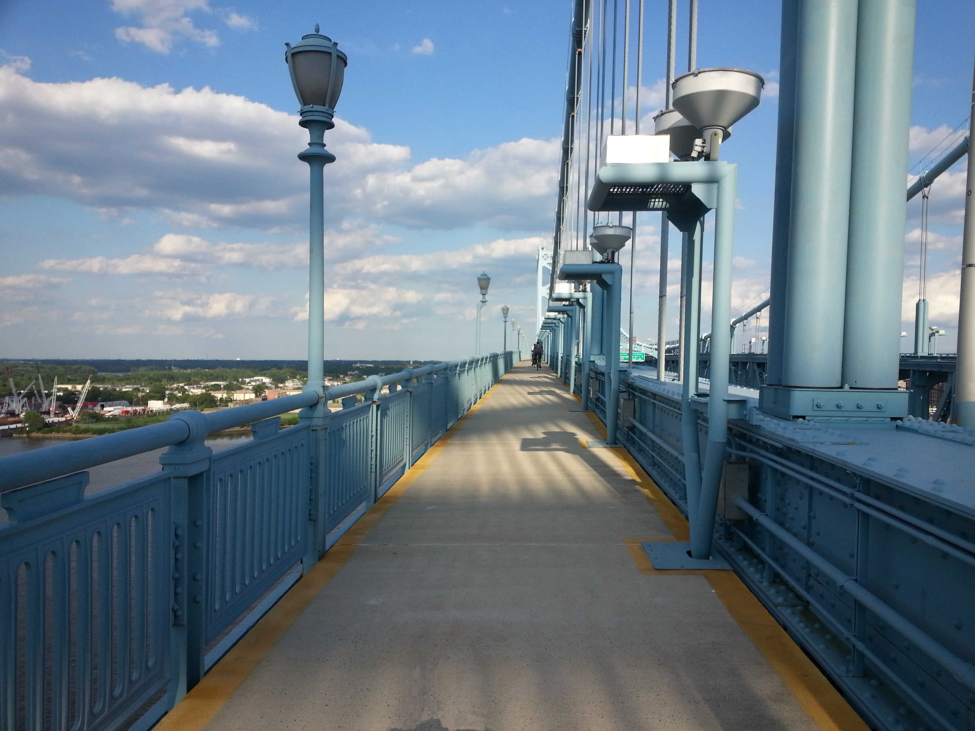 Looking east on the north walkway of the Ben Franklin Bridge.