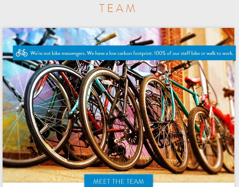 A screenshot from Message Agency's website. The firm places its bicycling culture front and center.