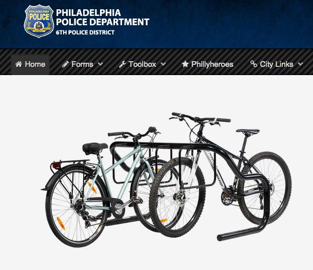 Screen shot from PhillyPoliceBikeRegistry.com