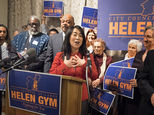 Helen Gym announces City Council at-Large campaign. (Image via Philly.com)