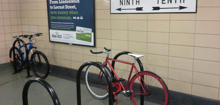Bike parking recently installed at a Center City PATCO Station.