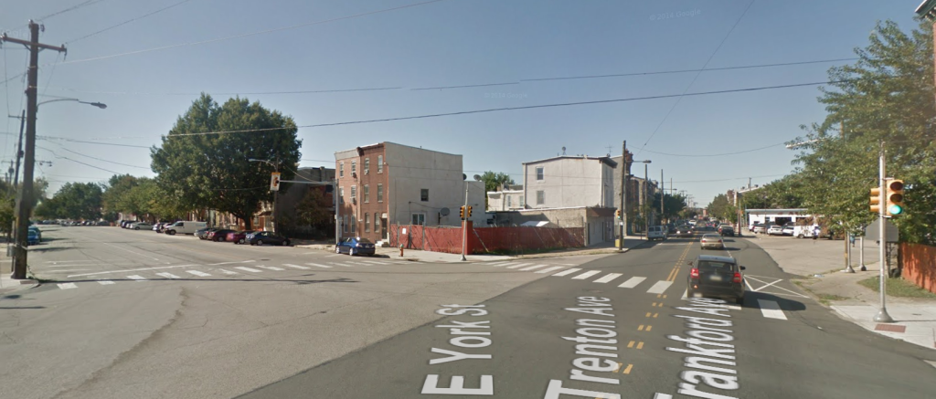 The intersection of Trenton Avenue, York Street, and Frankford Avenue, from Frankford Ave (via Google)