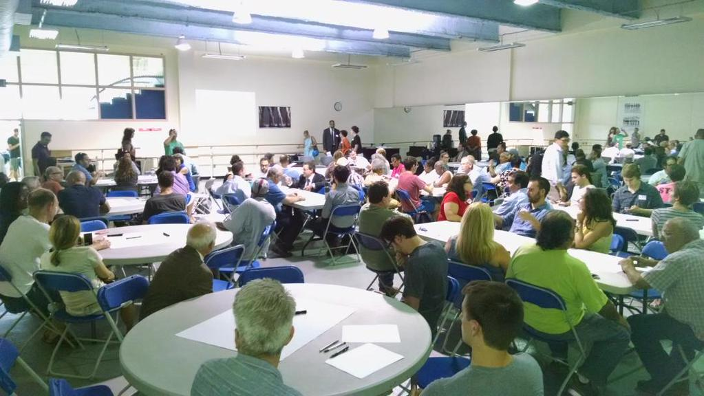 Concerned citizens meet about the future of Washington Avenue on September 3, 2015.