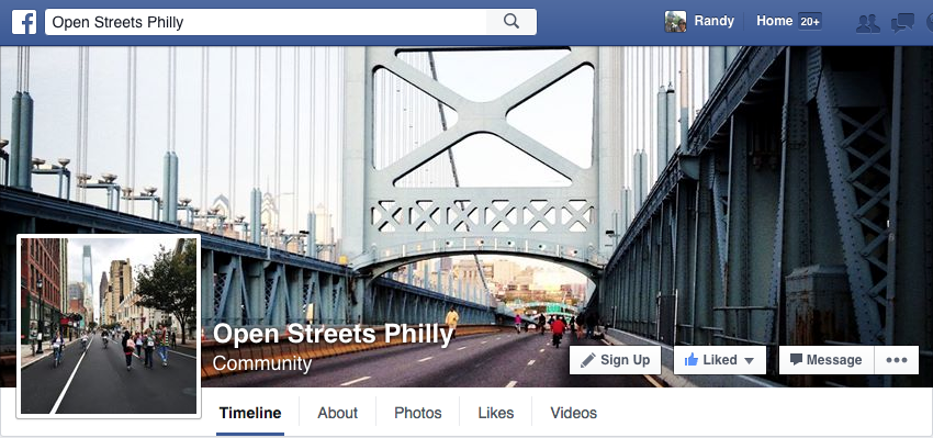 A screenshot from the Open Streets Philly Facebook page.