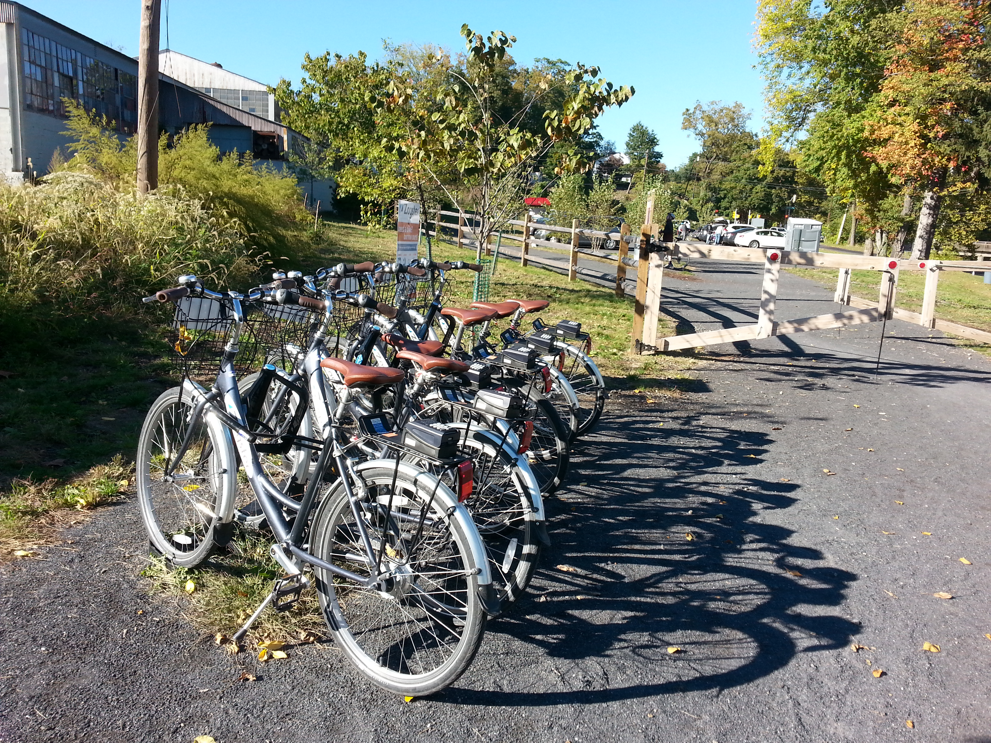 Zagster self service rental bikes on the Pennypack Creek Trail in Huntingdon Valley