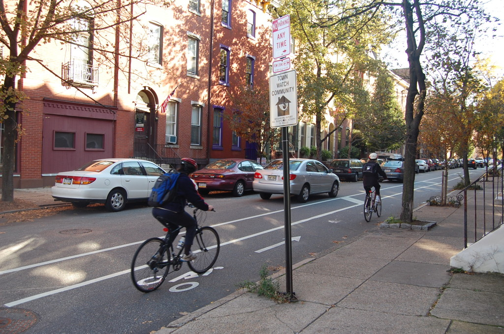 Cyclists on Spruce Street.