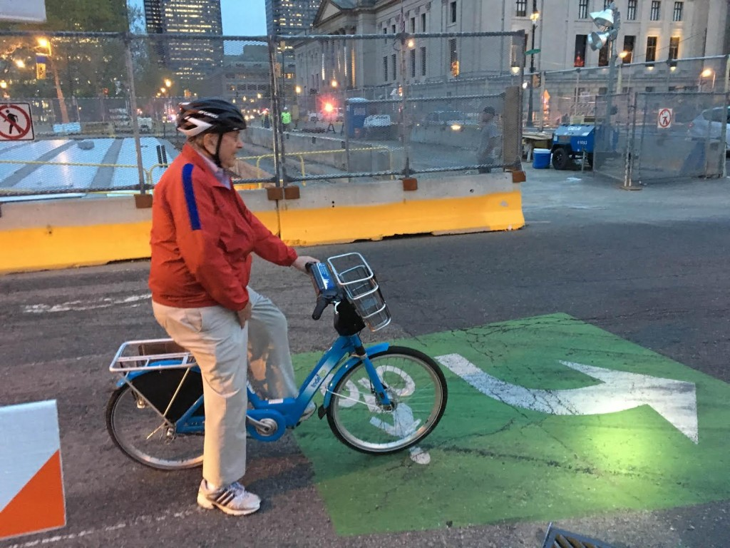 Daily News columnist Stu Bykofsky on an Indego bike.