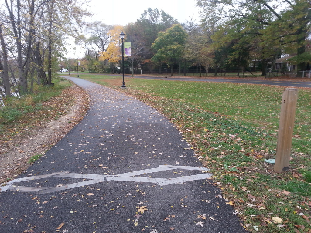 A permanent bicycle and pedestrian counter on the Cooper River Trail in Collingswood