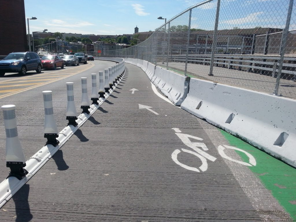 South Street Bridge bike lane during construction