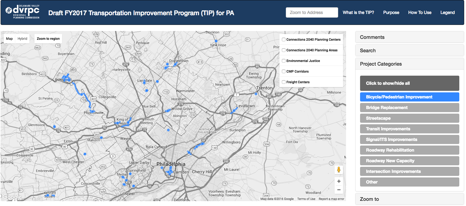 Bicycle and Pedestrian Projects in the Draft PA 2017 TIP