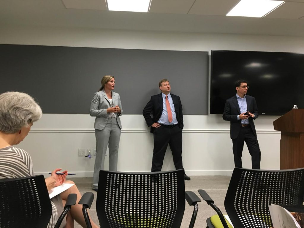 From Left to right: Emergency Manager Sam Phillips, First Deputy Managing Director Brian Apernathy, and Jordan Schwartz of the 2016 Host Committee at Chamber of Commerce on July 14