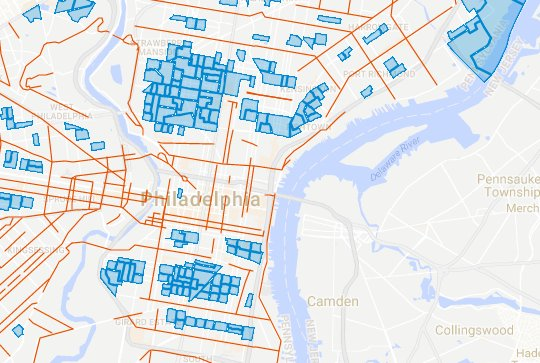 See those blue areas? That means 'no bike lanes' for residents.