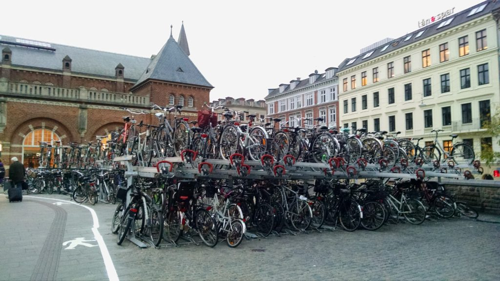 Double-decker bike parking in front of the central train station