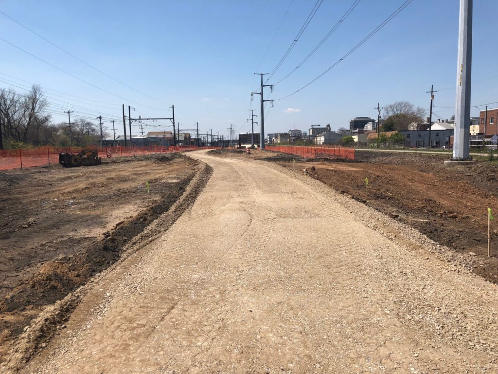 New alignment of the Schuykill River Trail. The existing trail is to the right of PECO Power Line Towers.