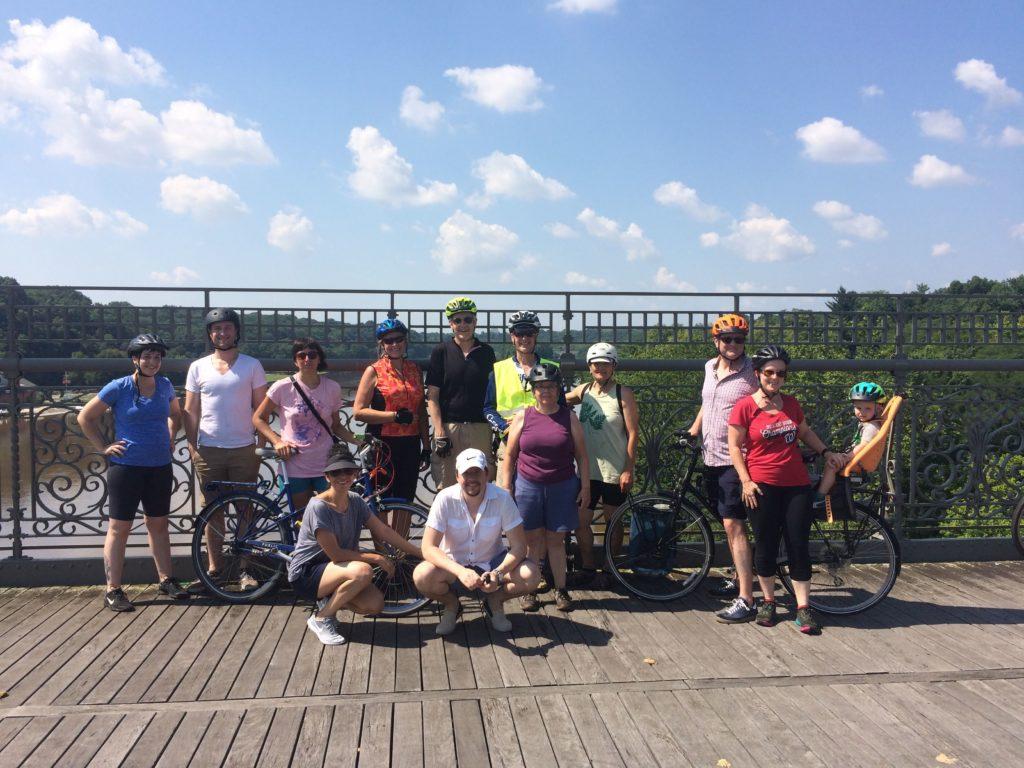 group photo on Strawberry Mansion bridge