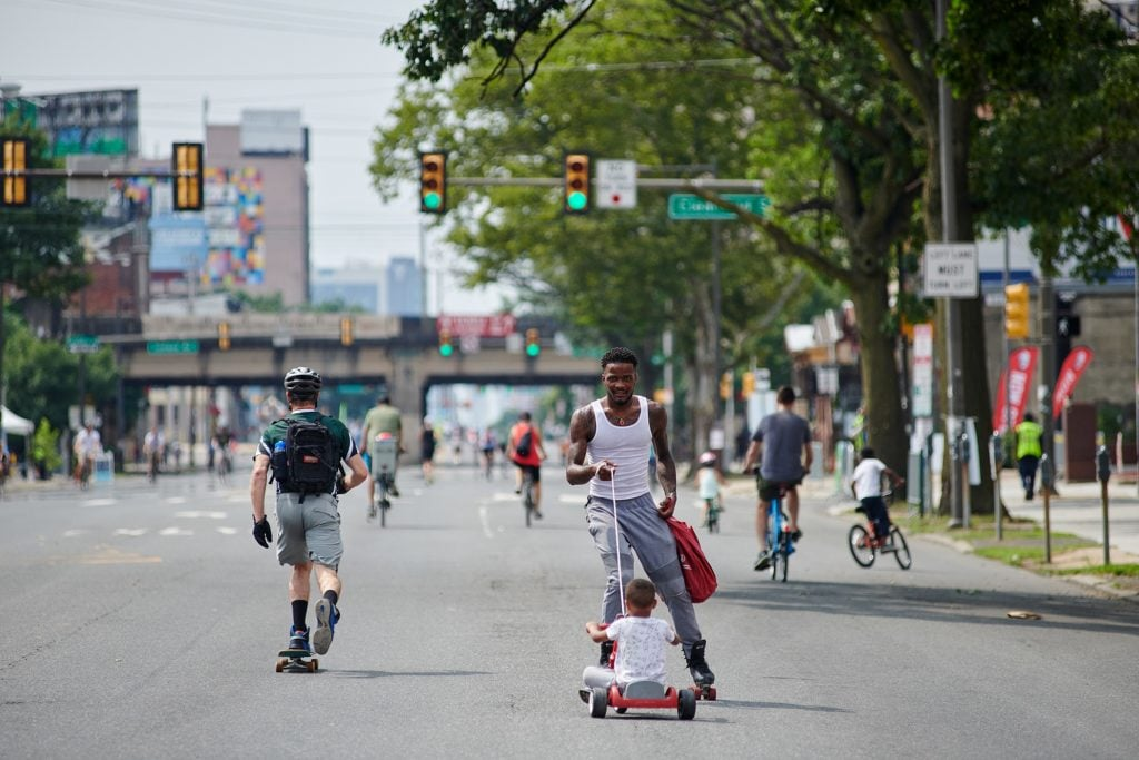 Bicyclists and skateboarders at Philly Free Streets