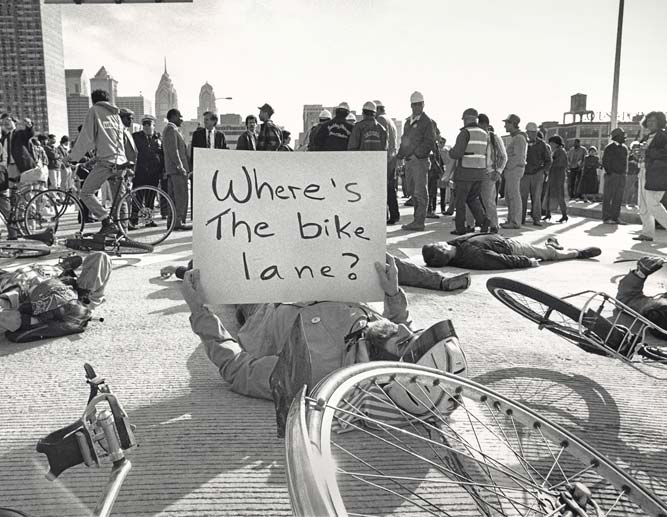 1990 Protest: Where's the bicycle lane?