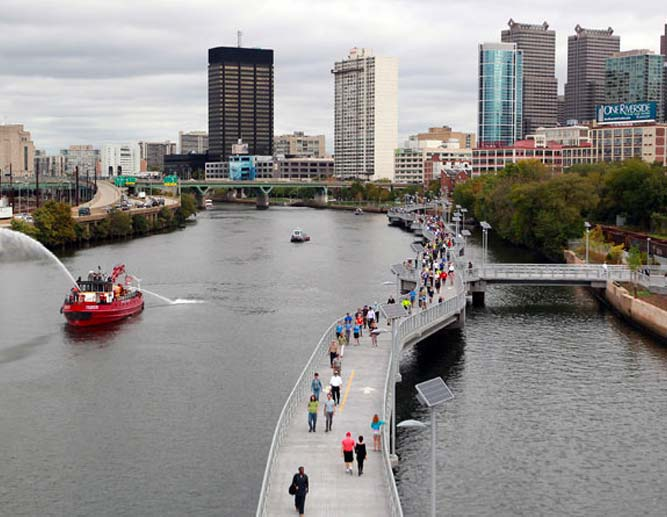 Schuylkill Banks Boardwalk opens thanks to Bicycle Coalition advocacy: pictured on opening day in 2014