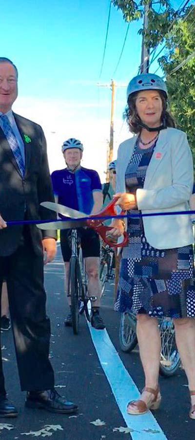 Philadelphia protected bike lane