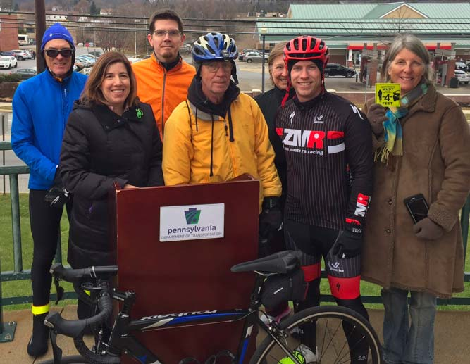 Pictured with PennDOT and Press: Bicycle Occupancy Permit abolished in 2017 through Bicycle Coalition advocacy