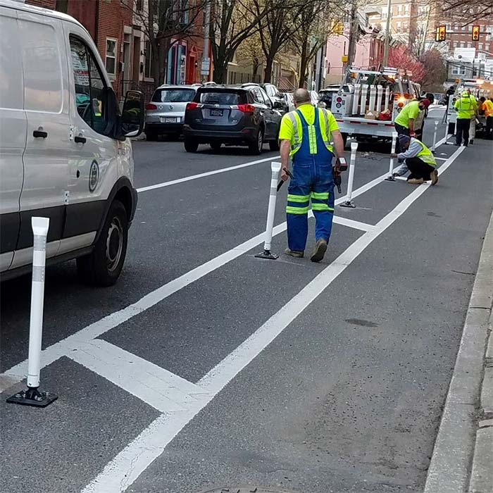 Protected Bike Lane in Philadelphia being installed