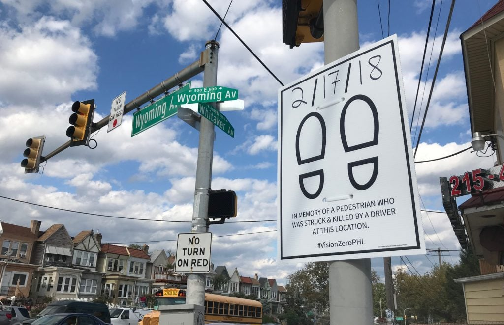 Sign memorializing pedestrian killed at corner of Whitaker and Wyoming in Philadelphia