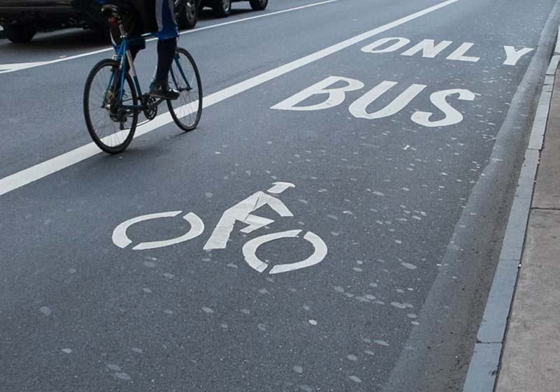 Bus and Bike lane in Philadelphia