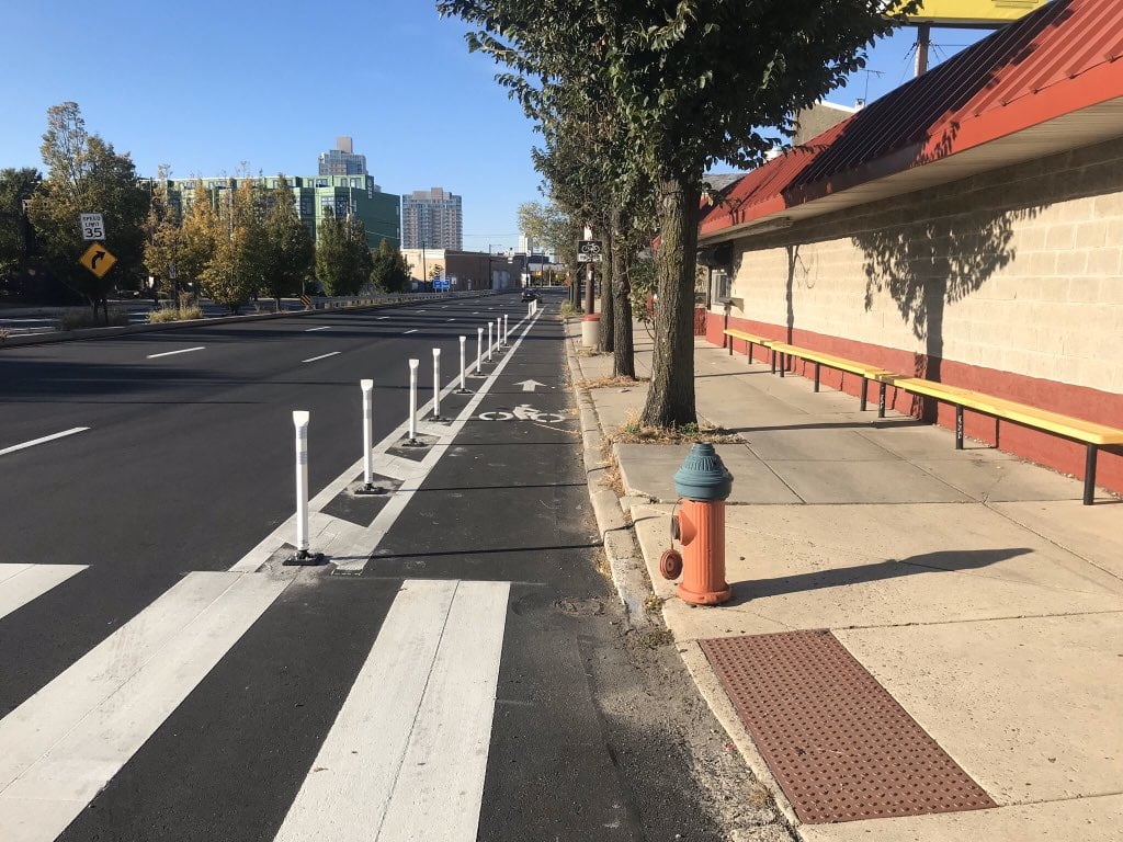 Delaware Ave bike lane protection in Philadelphia