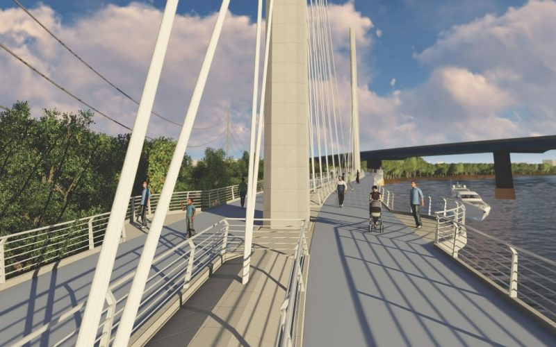 Rendering of Schuylkill River trail bridge section with people walking