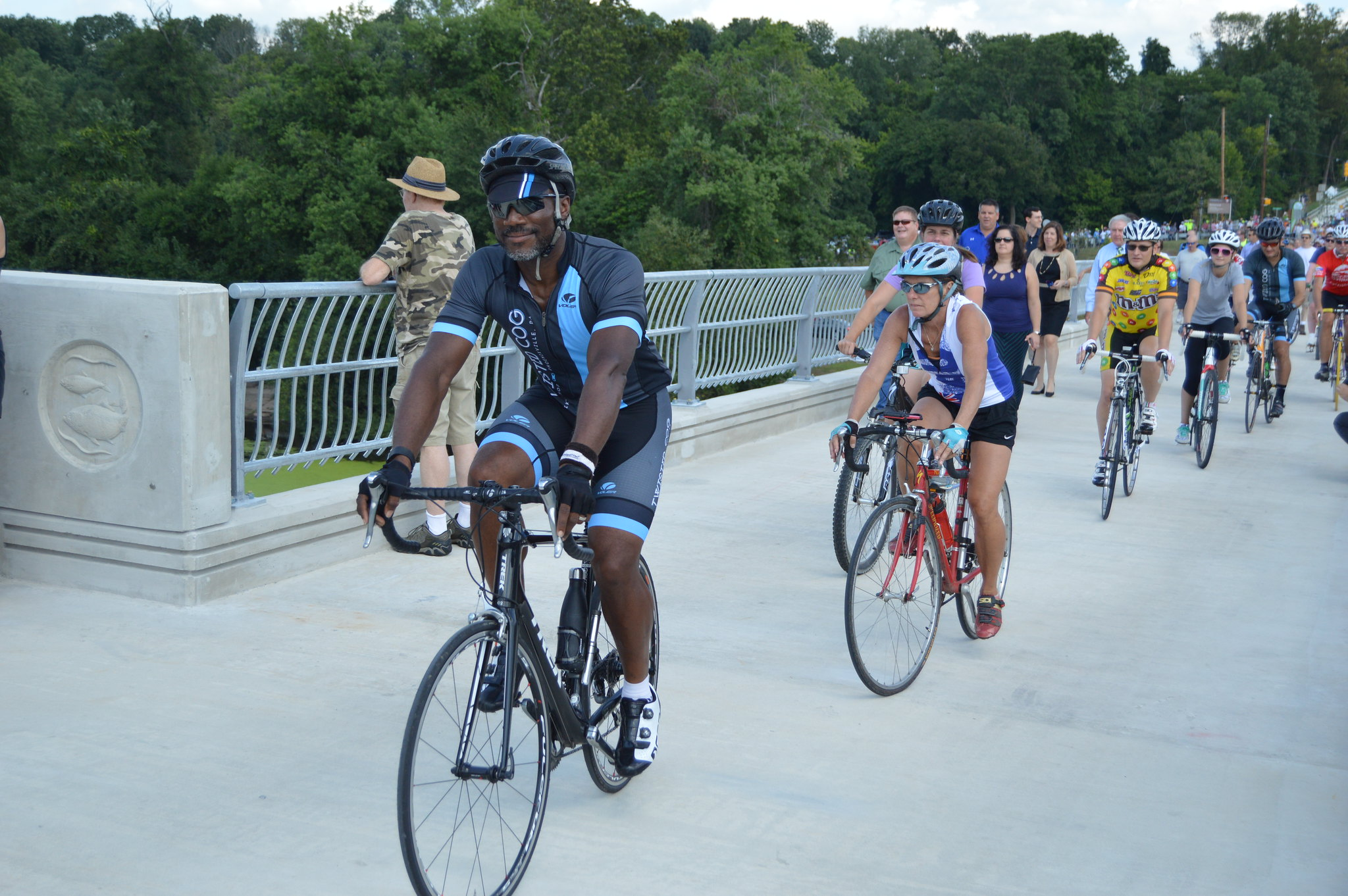 Cyclists crossing Sullivan's Bridge in Valley Forge
