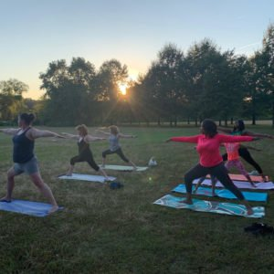 Yogis in Gateway Park in Camden
