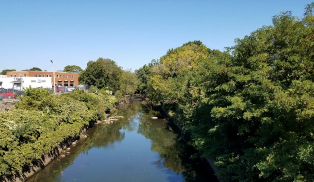 The Frankford Creek, shown as a channelized river with no natural edges