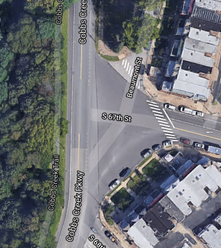 areal map of the intersection of 67th and Cobbs Creek Parkway, showing a large area of uncontrolled car space to turn